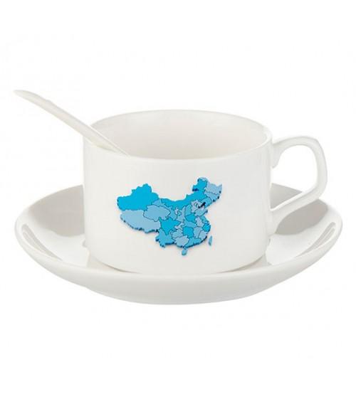 Бял Порцеланов Комплект за Кафе