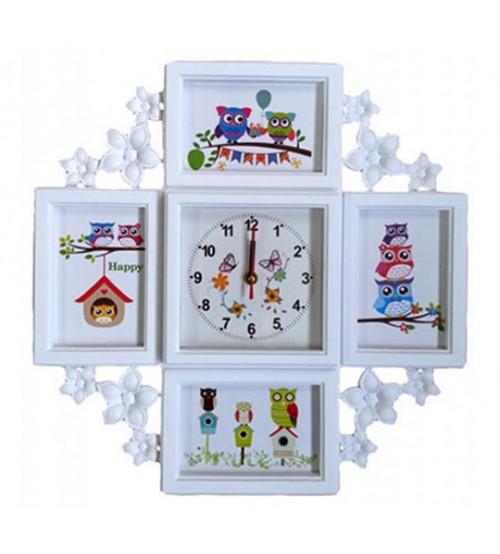 Часовник със Снимки - Колаж - Бял