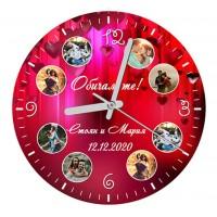 Стъклен Часовник с 8 Снимки