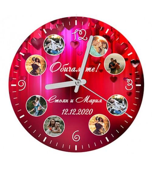 Дървен Часовник с 8 Снимки