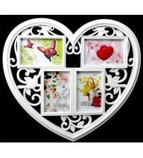 Бяла Фото Рамка за 4 снимки - Сърце
