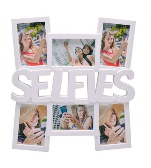 Бяла Фото Рамка за 6 Снимки - SELFIES
