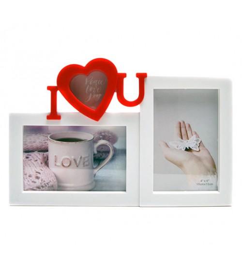 Бяла Фото Рамка за 2 Снимки - I Love You