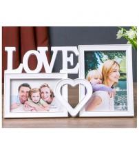 Бяла Фото Рамка за 2 Снимки - Love
