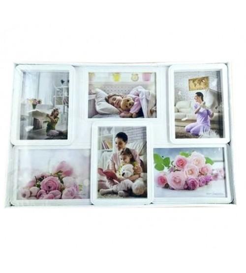 Бяла Фото Рамка за 6 Снимки - Колаж