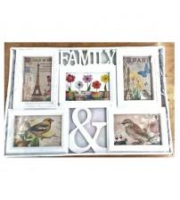Бяла Фото Рамка за 5 Снимки - Family