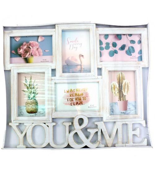 Бяла Фото Рамка за 6 Снимки - You&Me