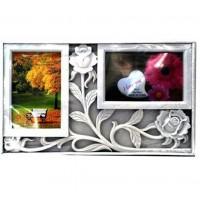Бяла Фото Рамка за 2 Снимки - Рози