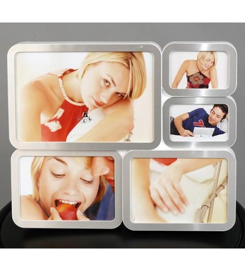 Сребриста Блокова Фото Рамка за 5 снимки