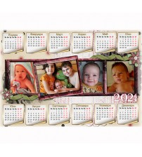 Еднолистен Календар с 4 Снимки - Колаж