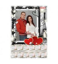 Еднолистен Календар с 1 Снимка - Love