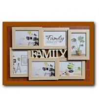 Бежова Фото Рамка за 6 Снимки - Family