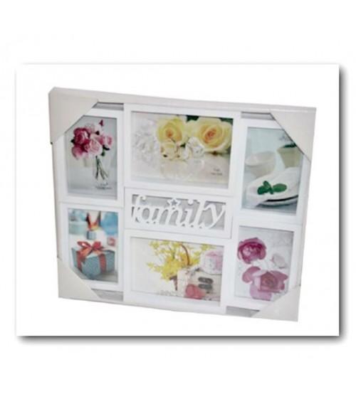 Бяла Фото Рамка за 6 Снимки - Family