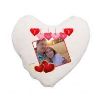Бяла Възглавница със Снимка - Сърце